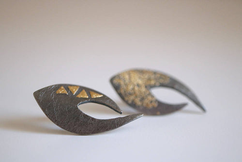 Nut earrings. Black sterling silver earrings with 24kt gold.