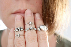 Three Skulls ring. Sterling silver ring with 3 skulls.