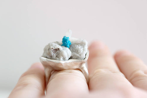 Cavansite ring. Sterling silver ring with natural Cavansite cluster.