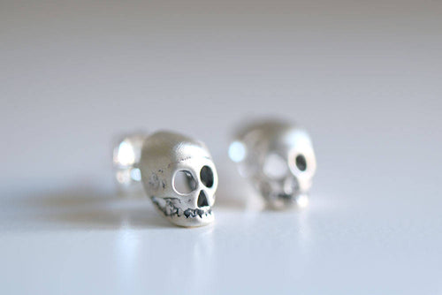 Skull earrings. Sterling silver Skull studs.