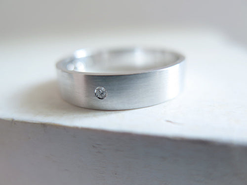 White Gold Wedding Band with diamond. 18kt White Gold ring. 5mm. Made to Order.