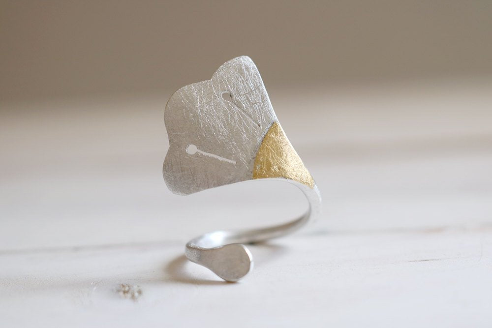 Lotus Flower. Sterling silver ring with 24kt gold.