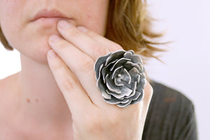 Peony ring. Sterling silver flower ring.