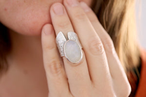 Moonstone ring. Sterling silver ring with natural Moonstone.