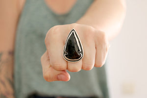 Obsidian Arrowhead ring. Sterling silver ring with black Obsidian Arrowhead.