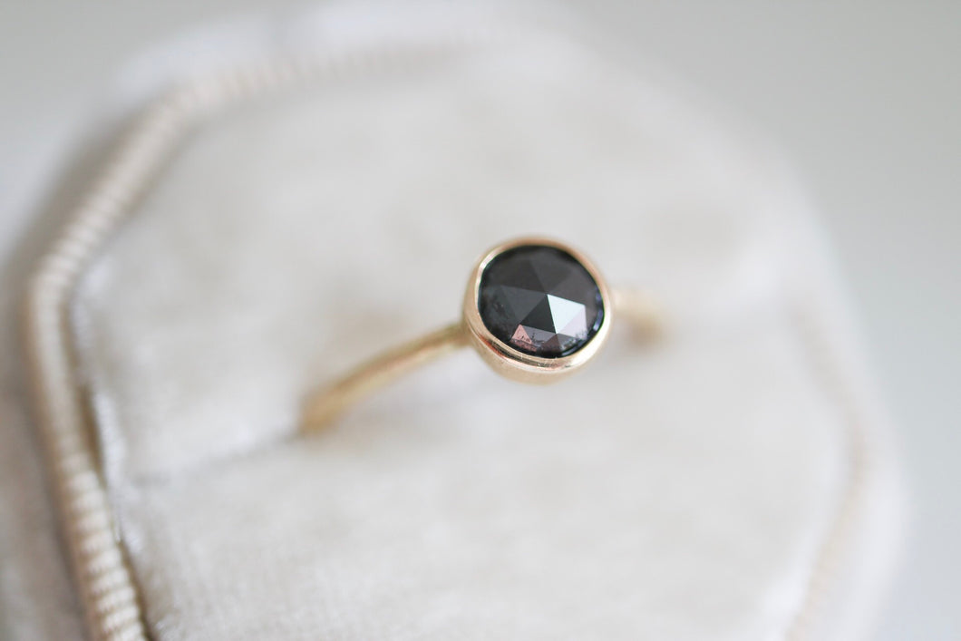 Black Diamond ring. 18kt gold ring with rose cut Black Diamond.