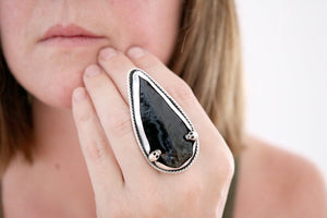 Obsidian Arrowhead ring. Sterling silver ring with Obsidian arrowhead.