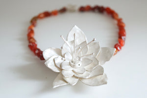 Ophelia necklace. Sterling silver flower necklace with Carnelian beads.