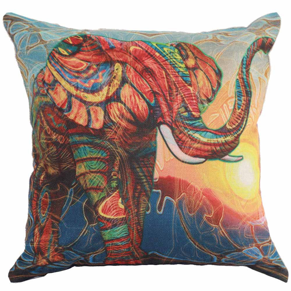 Colorful Elephant Cushion Cover