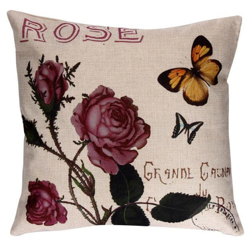 Rose Butterfly Cushion Cover