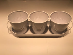 Triple White Tin Metal Planter with Tray