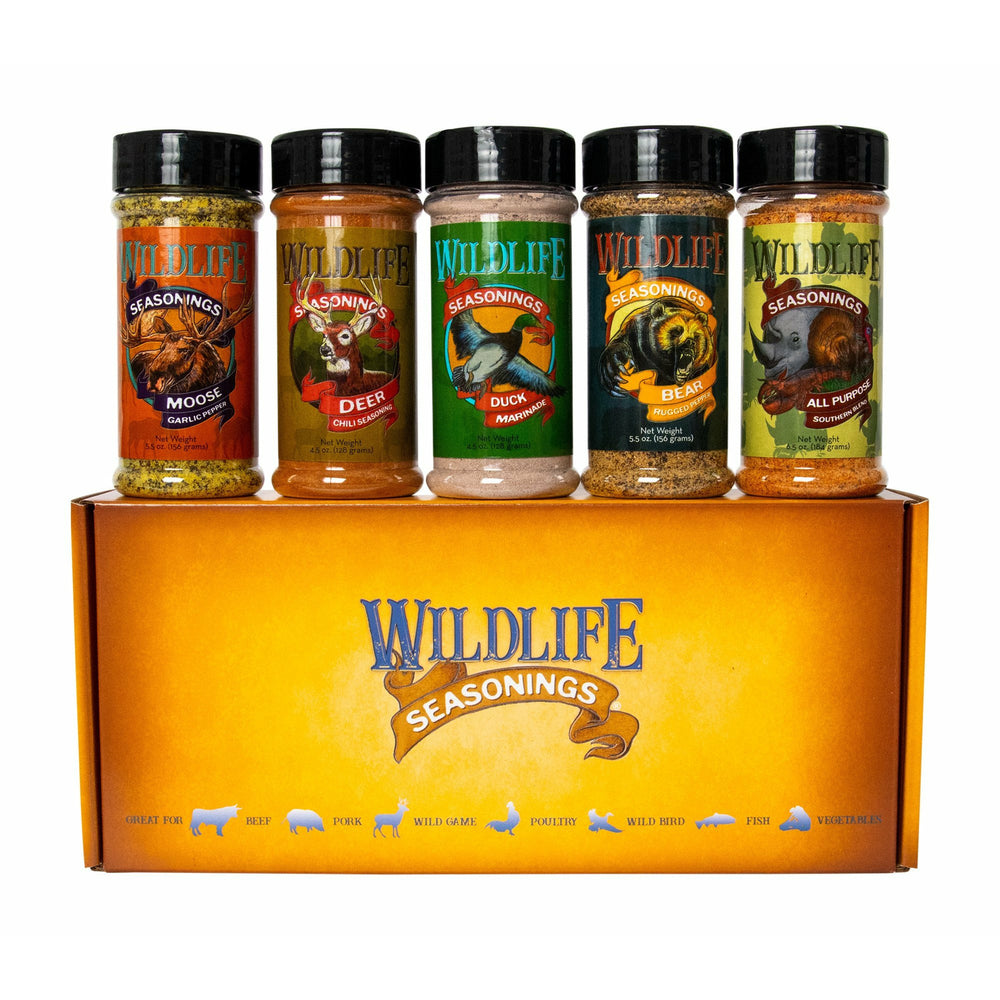 Hunter's Essential 5-Pack Gift Set by Wildlife Seasonings. This collection of outdoorsman seasonings and marinades are sure hit the mark. Reward yourself with a feast no matter what season it is. Includes; Moose Garlic Pepper, Deer Chili Seasoning, Duck Marinade, Bear Rugged Pepper and All Purpose Southern Blend