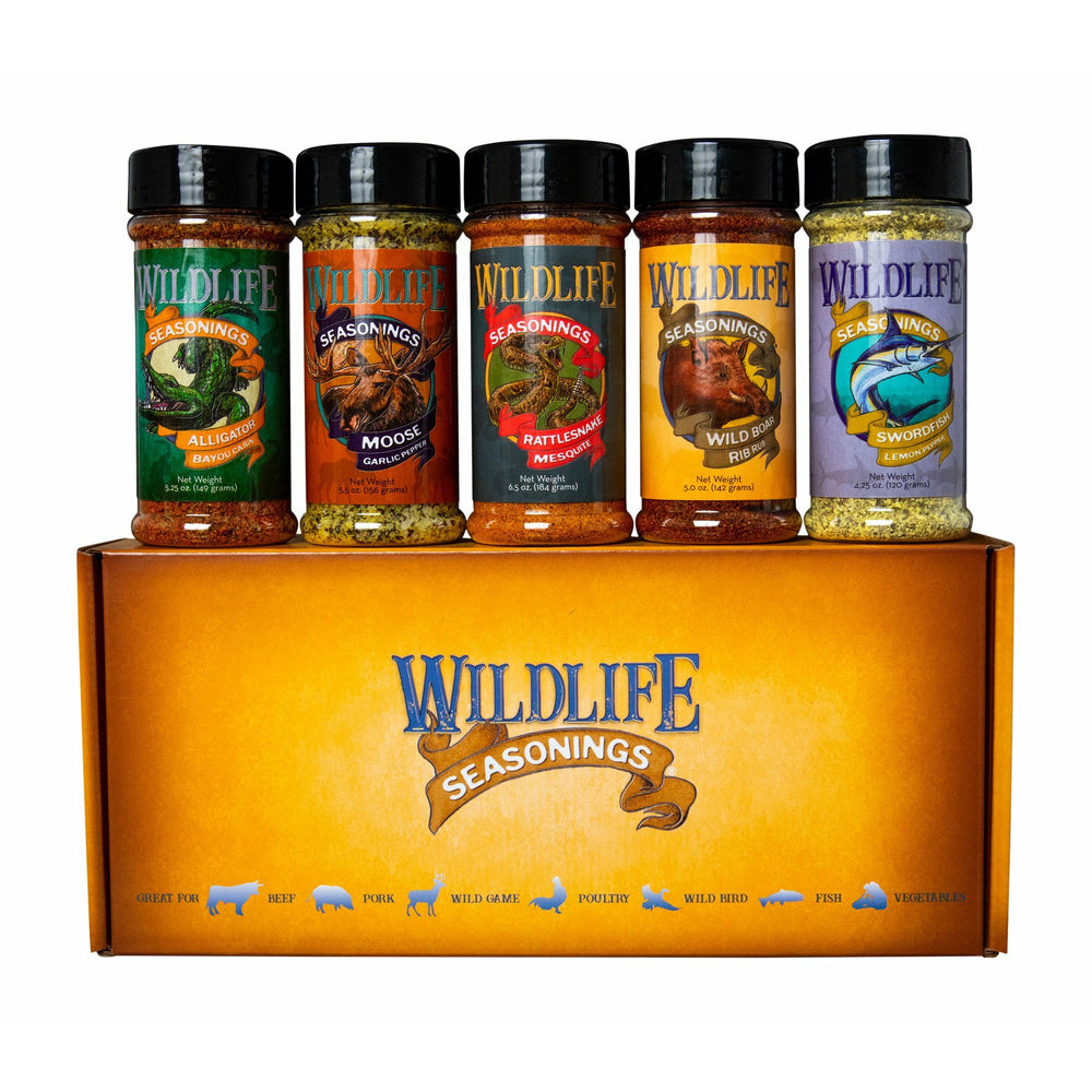The Original 5-Pack Gift Set by Wildlife Seasonings. If you're looking to season beef, pork, poultry or fish, this pack has it all.  Reward yourself or your friends and family with a feast no matter what season it is.  Includes; Alligator Bayou Cajun, Moose Garlic Pepper, Rattlesnake Mesquite, Wild Boar Rib Rub and Swordfish Lemon Pepper