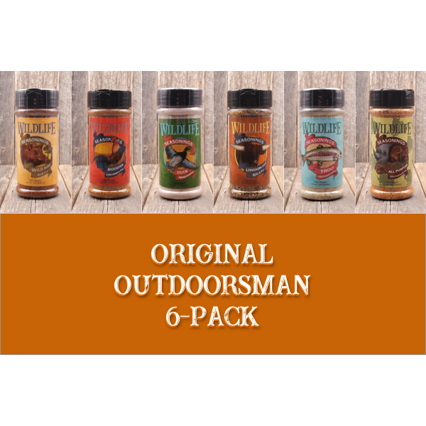 The Outdoorsman 6-Pack by Wildlife Seasonings. This 6-Pack assortment box allows you to experience a wide array of Wildlife Seasonings.  Perfect for any outdoorsman who knows their way around the grill.  Includes; Wild Boar Rib Rub, Rooster Untamed Rub, Duck Marinade, Longhorn Steak Big & Bold, Trout Freshwater Blend and All Purpose Southern Blend