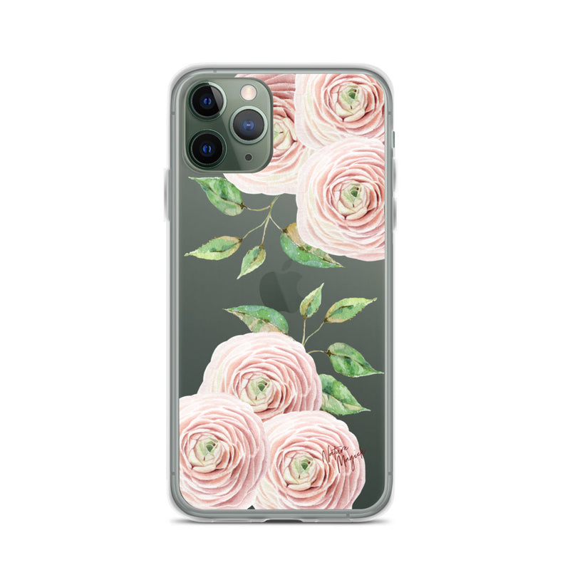 Clear Flower iPhone Case Blush Pink Roses by Nature Magick