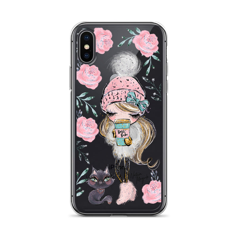 Clear Boss Babe iPhone Case Cat Walk by Nature Magick