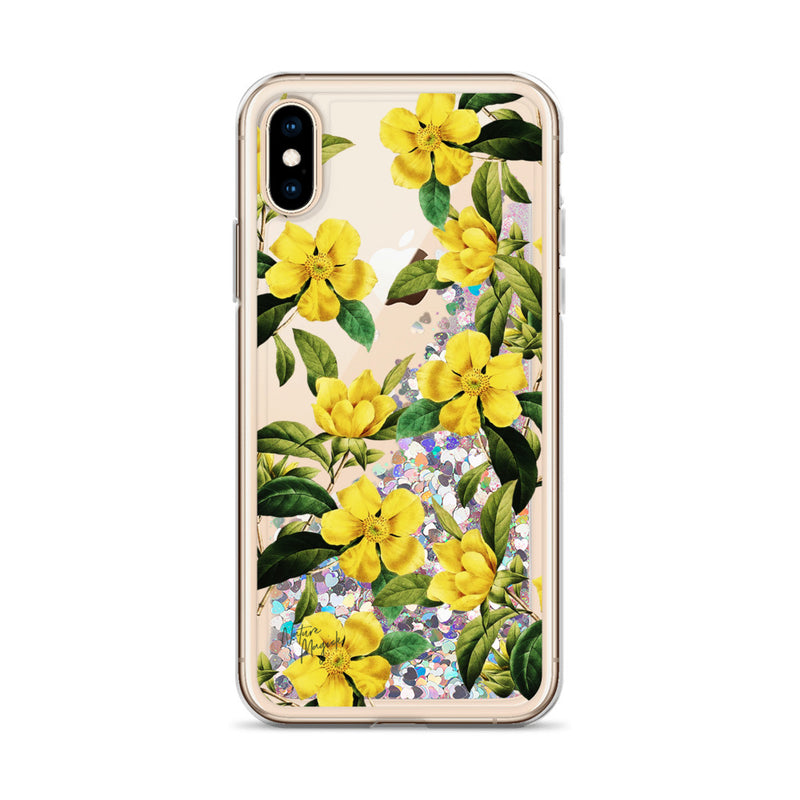 Vintage Floral Glitter iPhone Case Yellow Flowers by Nature Magick