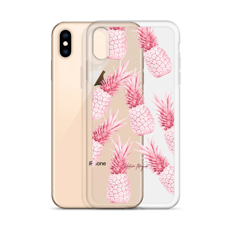 Clear Pineapple iPhone Case Red Hot Pink by Nature Magick