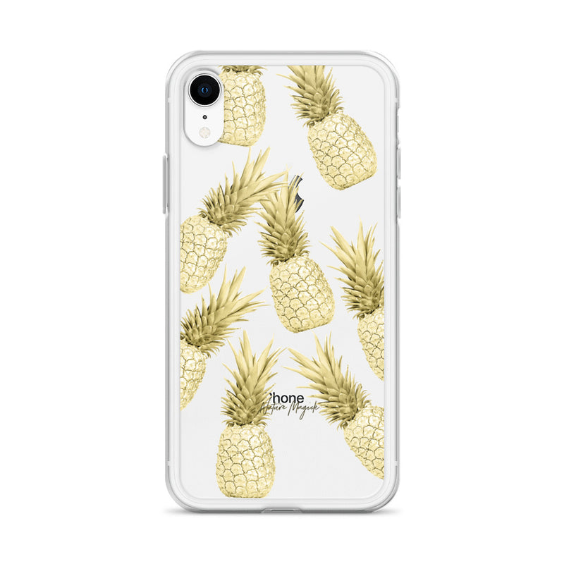 Clear Gold Pineapples iPhone Case by Nature Magick