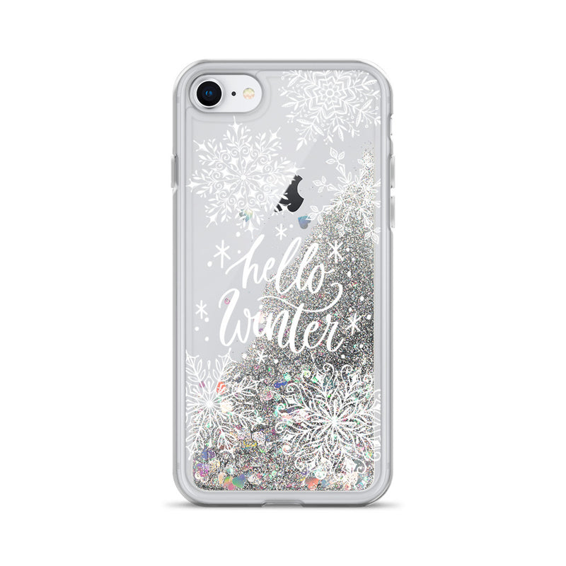 Christmas Glitter iPhone Case Hello Winter by Nature Magick