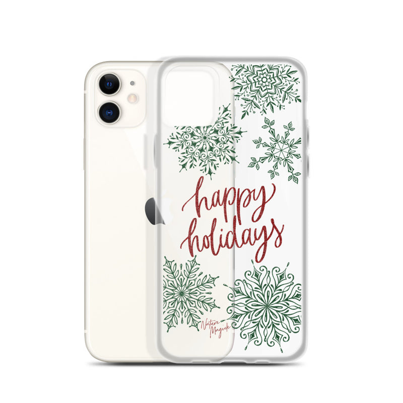 Clear Christmas iPhone Case Happy Holidays Snowflakes by Nature Magick
