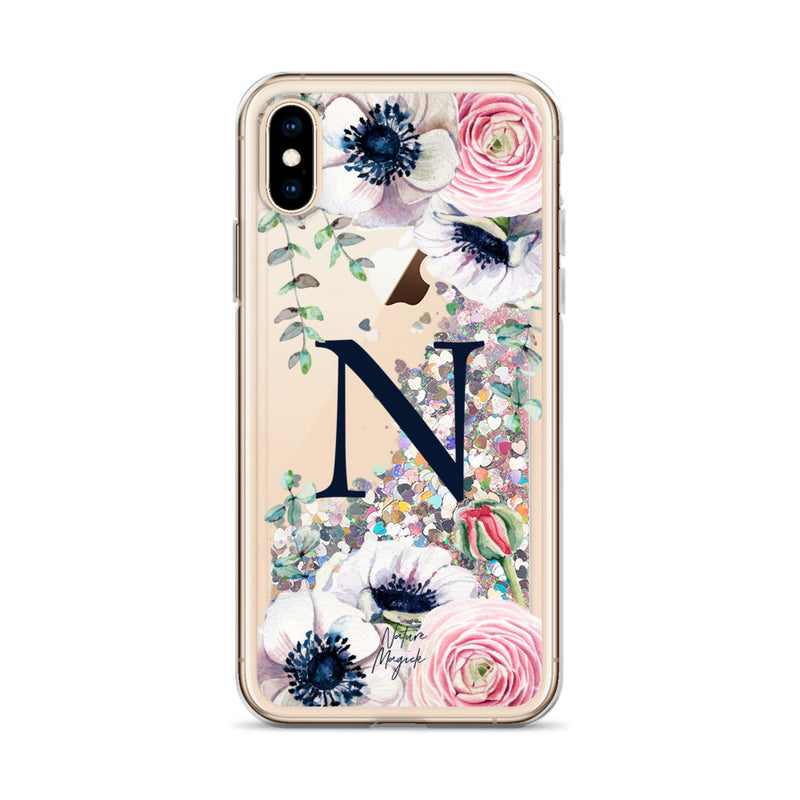 "Monogram Glitter iPhone Case Initial ""N"" Rose Floral by Nature Magick"