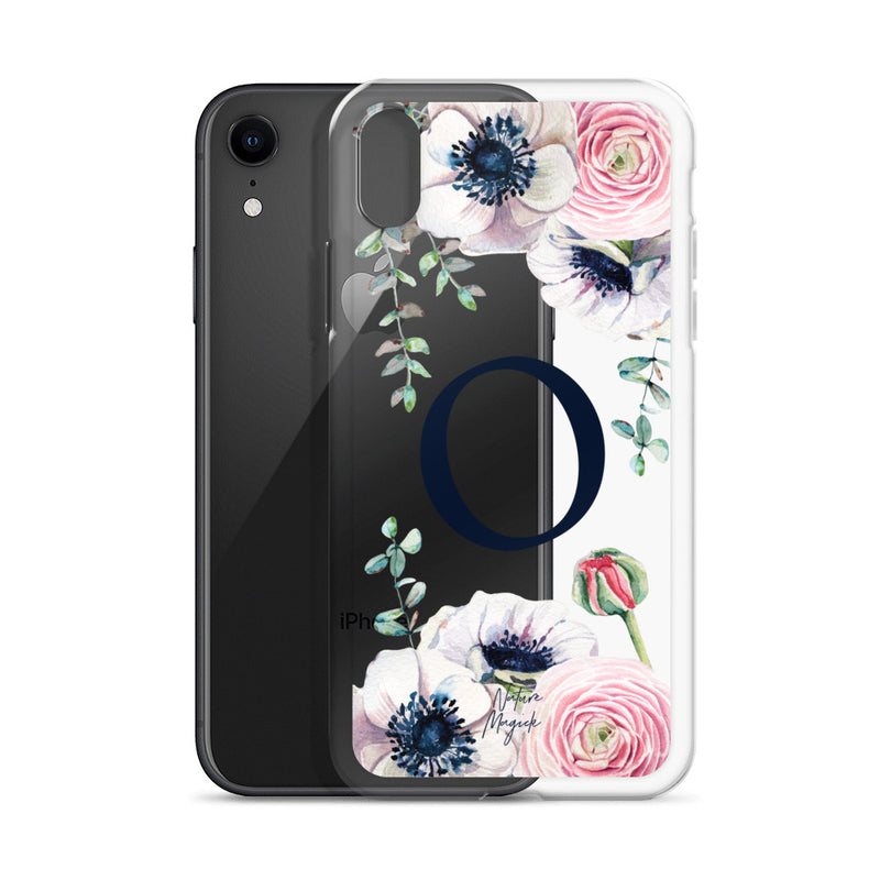 "Clear Monogram iPhone Case Initial ""O"" Rose Flowers by Nature Magick"