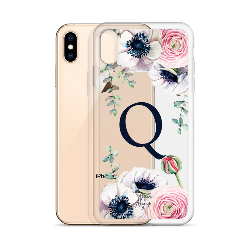 "Clear Monogram iPhone Case Initial ""Q"" Rose Flowers by Nature Magick"