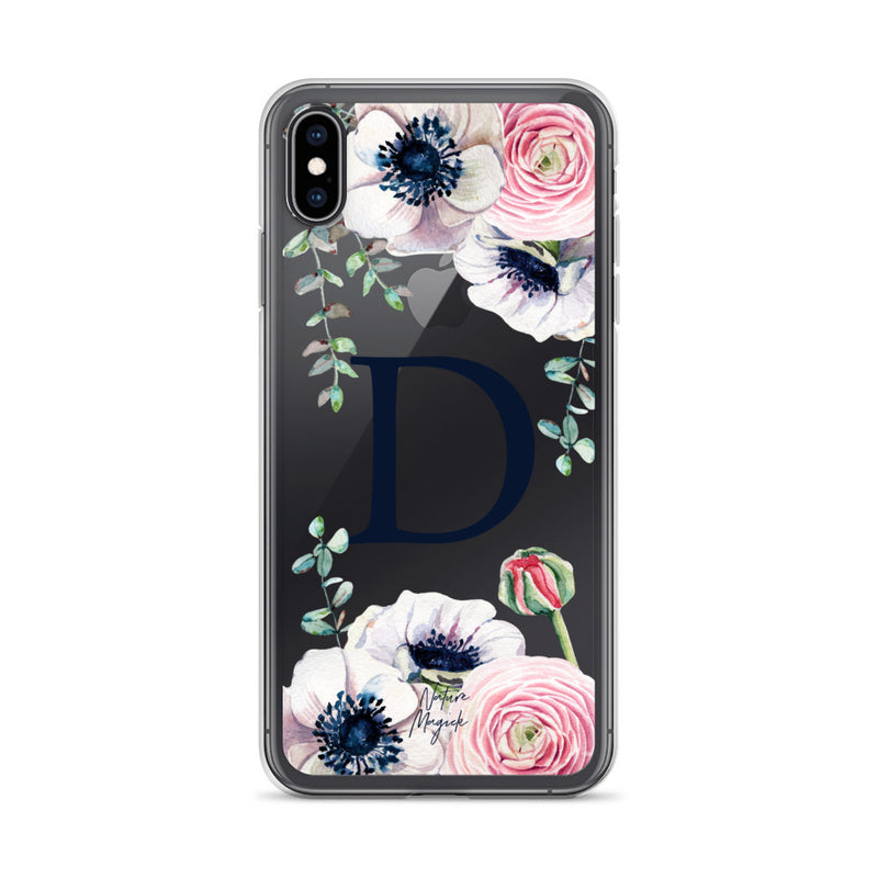 "Clear Monogram iPhone Case Initial ""D"" Rose Flowers by Nature Magick"