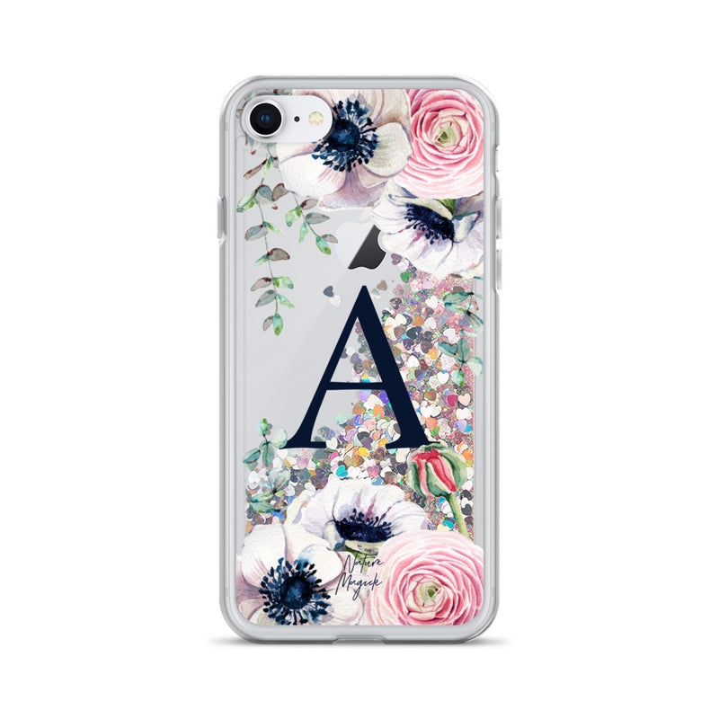 "Monogram Glitter iPhone Case Initial ""A"" Rose Floral by Nature Magick"