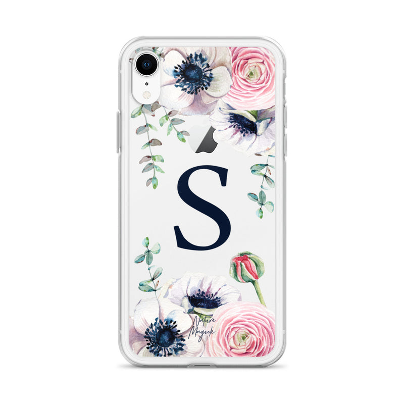 "Clear Monogram iPhone Case Initial ""S"" Rose Flowers by Nature Magick"