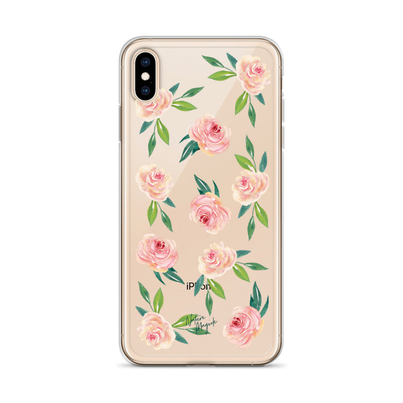 Clear Floral iPhone Case Rose Pink Flowers by Nature Magick
