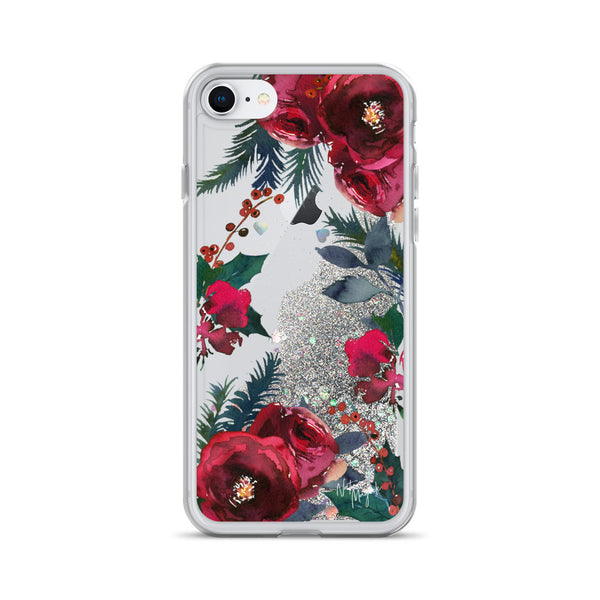 Christmas Glitter iPhone Case in Red Roses by Nature Magick