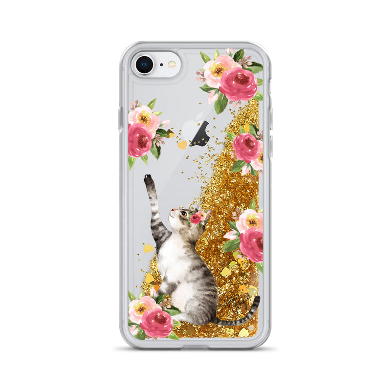 Flower Cat Glitter Phone Case for iPhone by Nature Magick