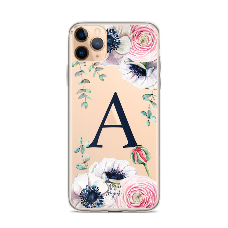 "Monogram iPhone 11 Pro Max case initial ""A"" rose flowers by Nature Magick"