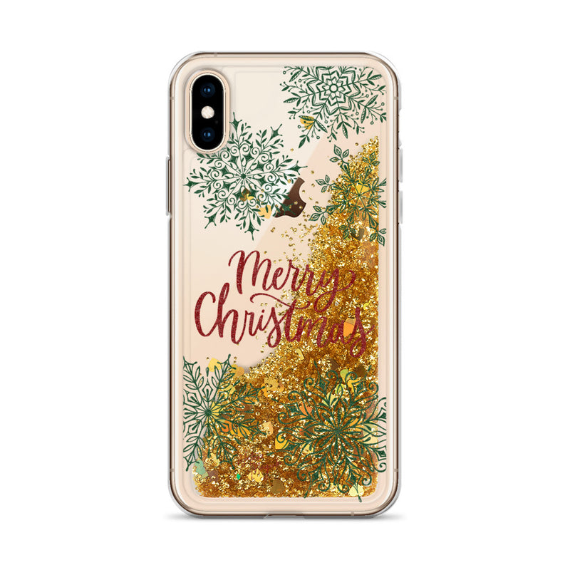 Christmas Glitter iPhone Case Merry Christmas Snowflakes by Nature Magick