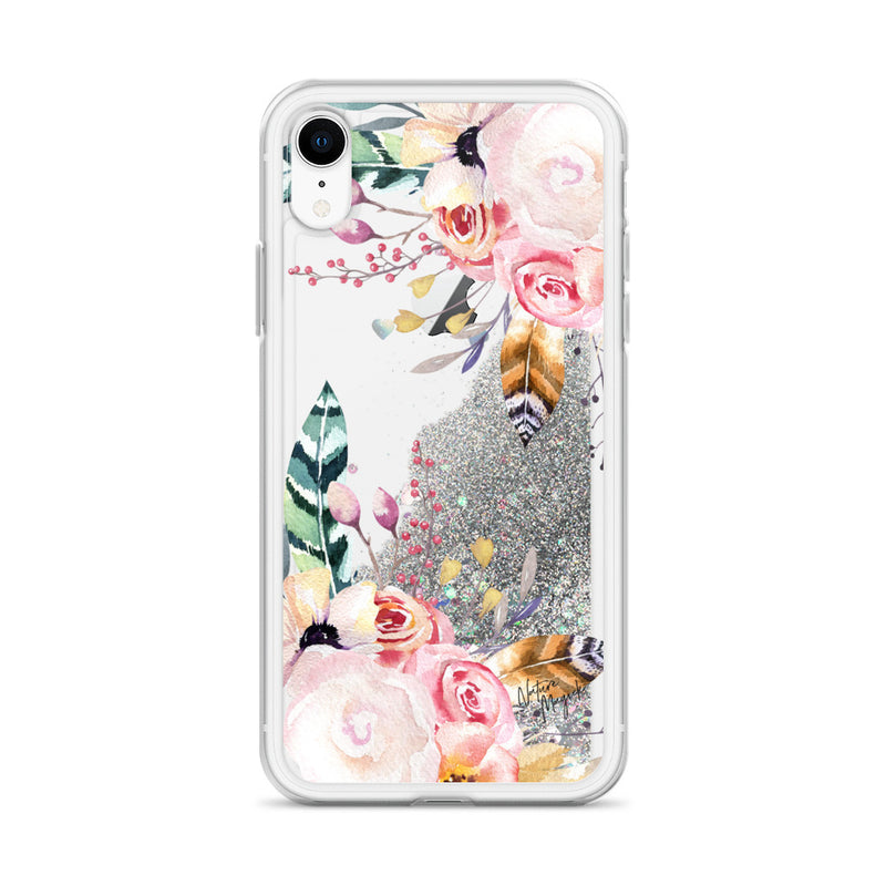 Flower Glitter iPhone Case Pink Rose Feather by Nature Magick