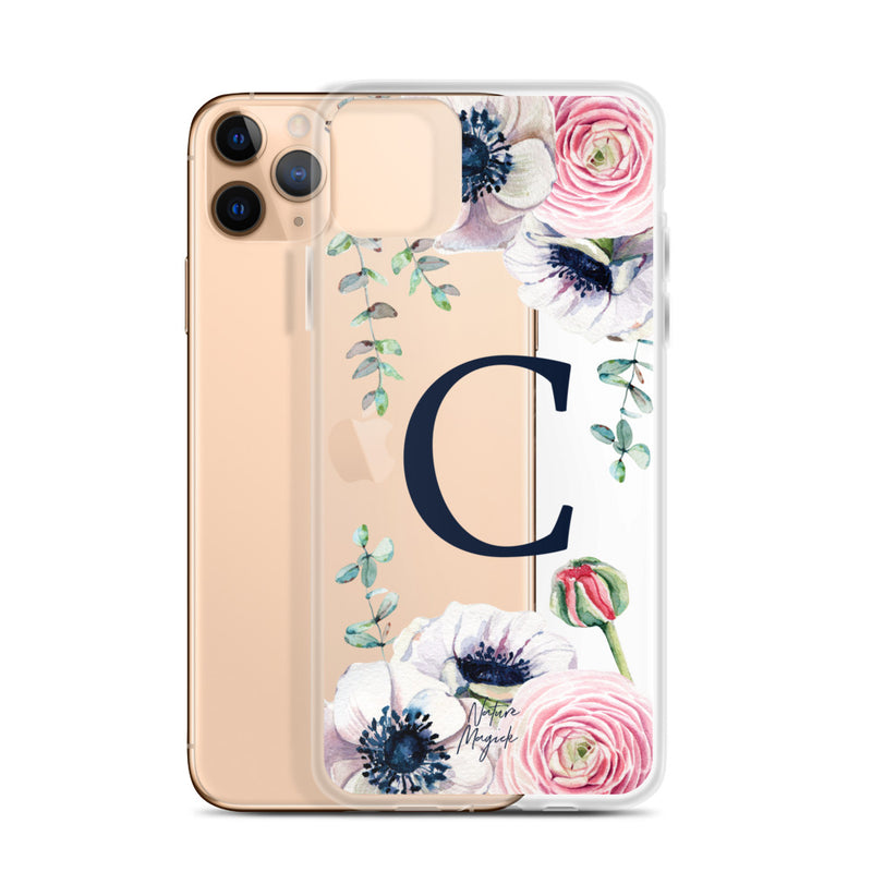 "Clear Monogram iPhone Case Initial ""C"" Rose Flowers by Nature Magick"
