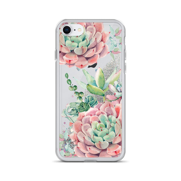 Pink Succulents Glitter iPhone Case by Nature Magick