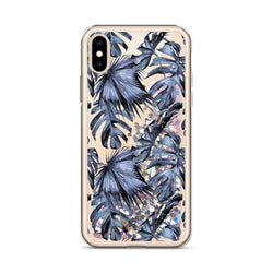 Tropical Palm Leaf Glitter iPhone Case Blue by Nature Magick