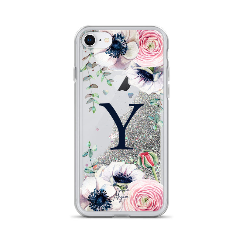 "Monogram Glitter iPhone Case Initial ""Y"" Rose Floral by Nature Magick"