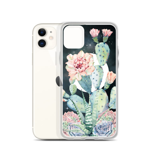 Moon Cactus iPhone Case Pink Succulent by Nature Magick