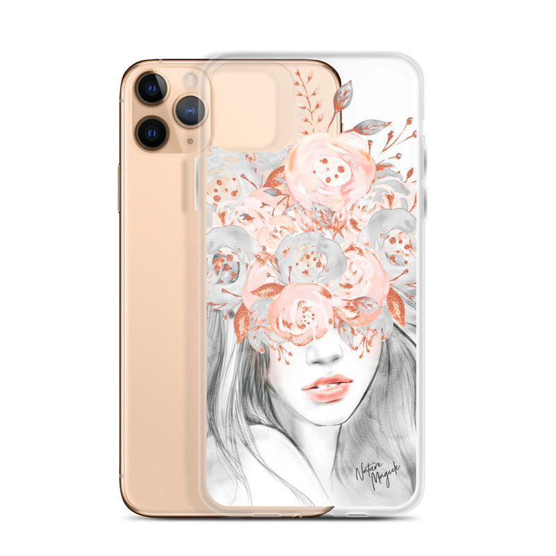Clear Fashion Girl iPhone Case Pink Floral by Nature Magick