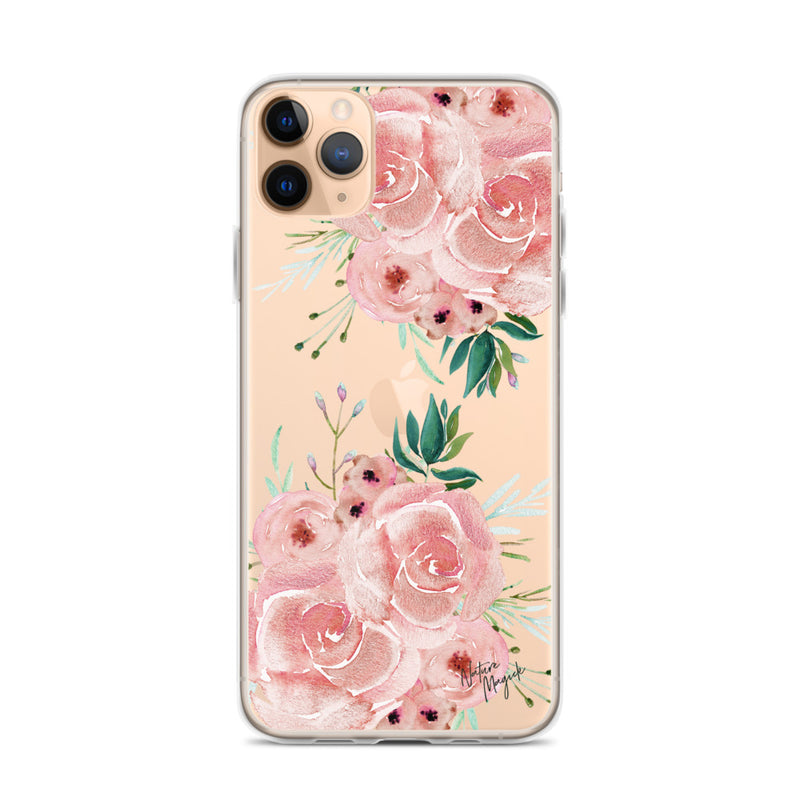 Clear Rose Flower iPhone Case in Pink Roses by Nature Magick