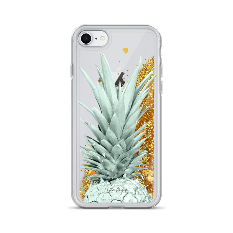 Pineapple Glitter iPhone Case in Green Top by Nature Magick