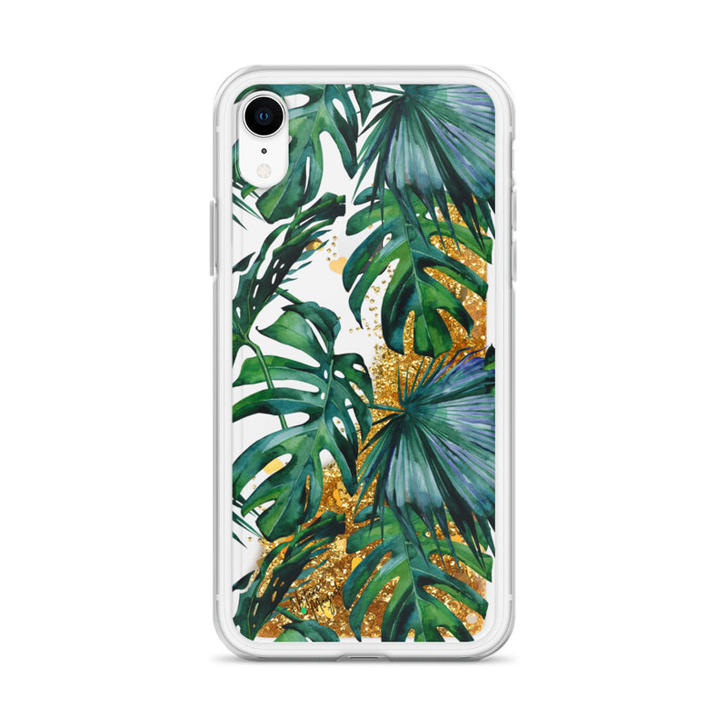 Tropical Palm Leaf Glitter iPhone Case by Nature Magick