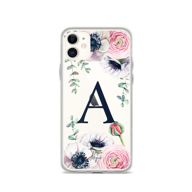 "Monogram iPhone 11 case initial ""A"" rose flowers by Nature Magick"