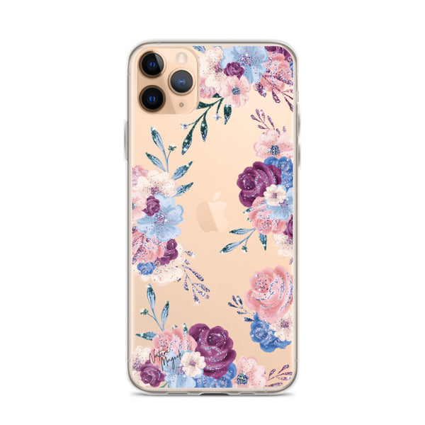 Clear Floral iPhone Case in Pink, Purple, and Blue Roses by Nature Magick
