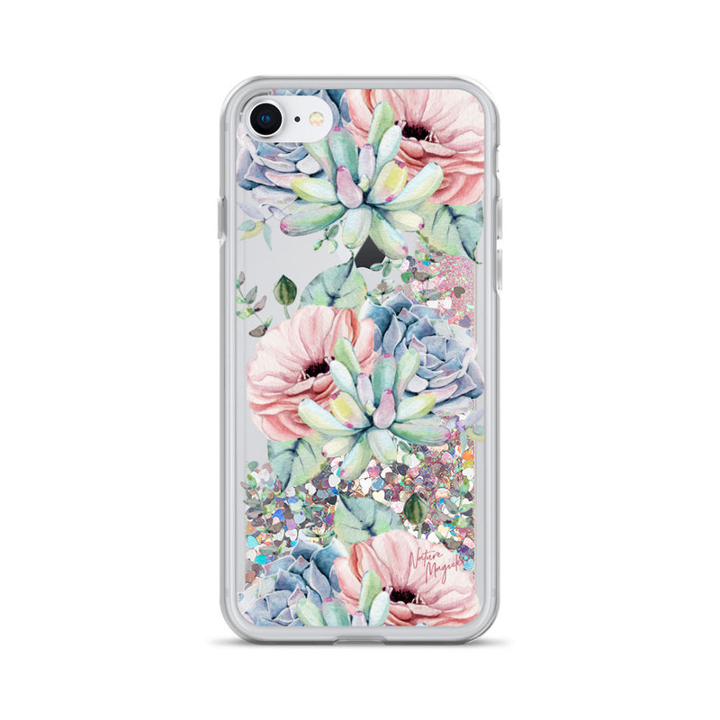 Succulent Garden Glitter iPhone Case Pink Floral by Nature Magick
