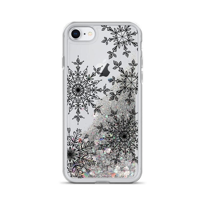 Christmas Glitter iPhone Case Snowflakes by Nature Magick